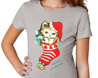 girls shirts - girls tshirts - Christmas shirts - cat shirt - kids cats - cat tshirt -holiday shirts-kids Christmas -MEOWY CHRISTMAS-t shirt