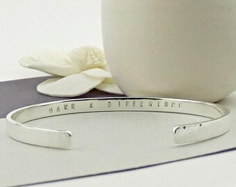 Sterling Silver Cuff Bracelet-personalised silver bangle-personalized silver cuff-valentine gift- personalised bangle- secret message bangle
