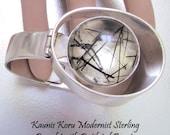 Kaunis Koru Finland Modernist Sterling Hinge Bracelet Rutilated Quartz 1975 Modernist Jewelry