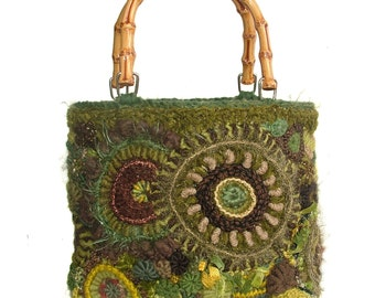 Women's Freeform Crochet Medium size Handbag Purse in Olive Green Tones