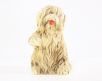 Vintage Shaggy Sheep Dog Candle Unused / Retro Kitschy Dog Candle / Vintage Home Decor