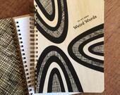 Weird Words Journal - Birch Wood Journal - Real Wood Notebook - Lined Journal - Black & White - J1813