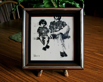"""Aldo Luongo, Framed Lithograph, Fine Art Print, Father and Son, Hawk's Lessons, Impressionist Art, Vintage Wall Art, Charcoal Art 8"""" X 8"""""""