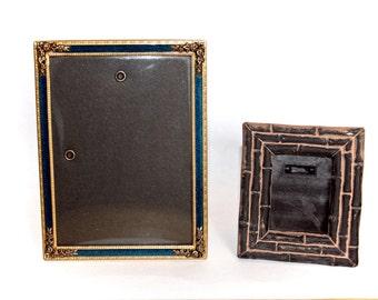 """Vintage Frames, Freestanding Frames, Two Old Frames, 5"""" Goldtone Enamel, 3"""" Wood, Desk Frames, Needlework Frames, Tiny Vintage Frames"""