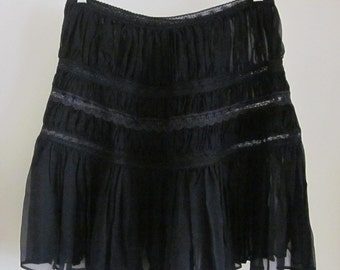 Sheer Black Cynthia Rowley Silk and lace skirt sz. 8