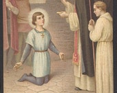 Vintage Joan of Arc French Holy Card of Saint Joan of Arc receiving Communion.