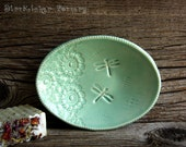 Pottery Soap Dish in Mint Green with Dancing Dragonflies - Tray - by DirtKicker Pottery