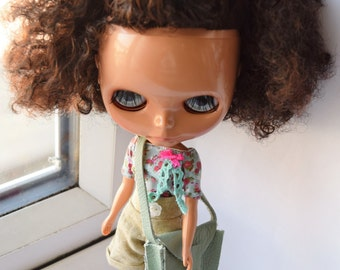 Fantastic Pale green real leather bag for Blythe doll