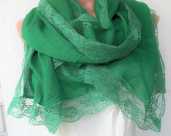 Wedding  Women Scarf ,  Head Scarf , Turkish  Cotton and Lace Scarf ,  Gift for her  women , Emerald Green Scarf , Lace Scarf Summer Scarf