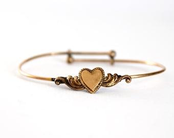 Vintage Girls Bracelet Gold Tone Heart