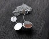 Big Peach round Moonstone ball pendant long necklace