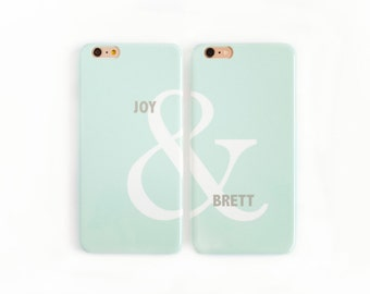 Modern Valentine's Day Gift - Mint Green & Linen Gray, Ampersand Couples iPhone Cases SE/5S 7 6S 8 X, Galaxy s8 s7 Best Friend Phone Cases