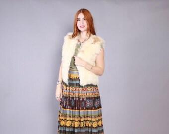 Vintage 60s Fur VEST / 1960s Curly Natural Ivory LAMB Boho Jacket osfm