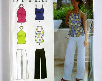 Misses' Halter and Spaghetti Strap Camisoles and Slacks - Simplicity 9107 - Uncut Sewing Pattern, Sizes 6, 8, 10, 12, 14, 16