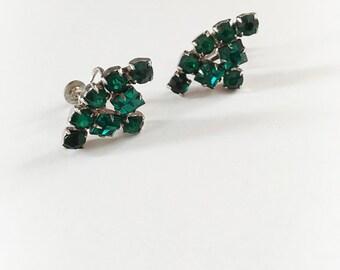 Vintage Emerald Green Rhinestone Earrings Screw Backs