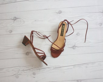 leather braid sandals size 6 1/2