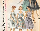 Simplicity 5510 1960s Square Neck Party Dress Vintage Sewing Pattern Size 12 Bust 32 Sleeveless Rockabilly
