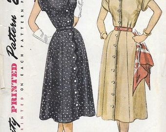 Simplicity 3589 1950s Shirtwaist Dress with Sweetheart Neckline and Scallops Vintage Sewing Pattern Bust 38 Cuffed Sleeves