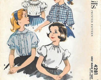 """McCalls 4281  1950s Tweens Blouse with Puffed Sleeves and Peter Pan Collars Vintage Sewing Pattern Size 12 Breast 30 """"Easy to Sew"""""""