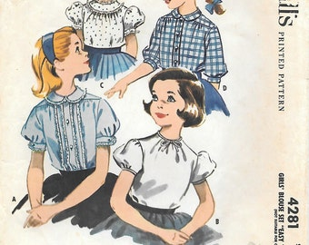 """McCalls 4281 - 1950s Tweens Blouse with Puffed Sleeves and Peter Pan Collars Vintage Sewing Pattern Size 12 Breast 30 """"Easy to Sew"""""""