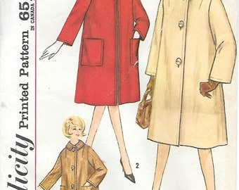Simplicity 4637 1960s Misses Lined Coat in Two Lengths Vintage Sewing Pattern Size 14 Bust 34 Car Coat Front Zipper Coat