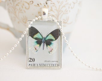 butterfly necklace, postage stamp, Papua New Guinea 1979 stamp butterfly pendant