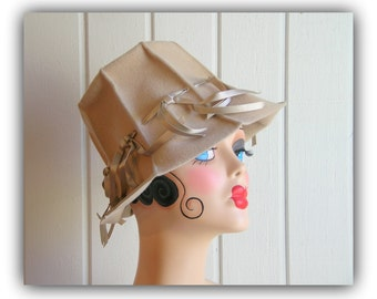 Vintage Beige Lampshade Wool Mod Hat with ribbon detail