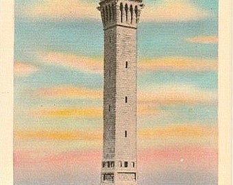Vintage Cape Cod Postcard - Pilgrim Monument at Sunset, Provincetown (Unused)