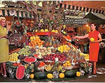 California Vintage Postcard - At the Farmers Market, Los Angeles (Unused)