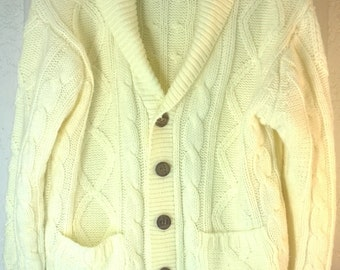 Vintage 60s 70s Fisherman Cardigan Sweater by Kings Road, Sears Mens Store Cable Knit Large Shawl Collar 100% Acrylic