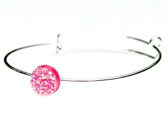 Druzy Silver Bangle Girly Pink Sparkle Slim Sleek Bracelet Bubble Gum Pink Rose Shimmer Luster Everyday Wear High Fashion Style by Mei Faith