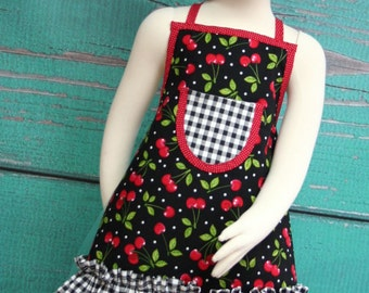 Kids Ruffle Apron - Black & Red Cherries - READY TO SHIP