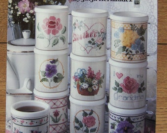 Cross Stitch patterns for mugs Bouquet of Mugs flowers