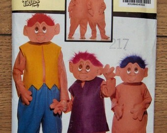 vintage 1992 butterick pattern 6385 Norfin TROLL costume children boy girl sz 4-14 uncut