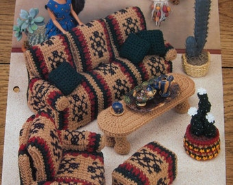 "1995 crochet pattern 11 1/2"" fashion doll furniture Santa Fe style sofa chair footstool coffee table cactus planter dream catcher pillow"