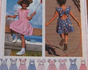 vintage 1996 Simplicity pattern 9573 girls dress and romper  sz 5-6-7-8   uncut