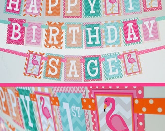 Flamingo Birthday Party Banner Decorations Fully Assembled