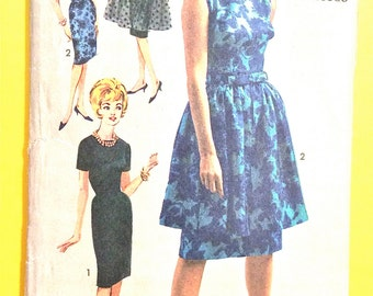 Printed Pattern Advance 3053 Early 60s Junior and Misses' Dress and Detachable Overskirt Vintage Sewing Pattern Bust 33 Hip 35