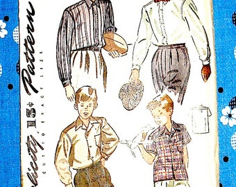 Vintage 1940s boys' shirt sewing pattern Simplicity 4973   Chest is 28 inches.