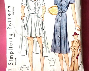 Simplicity 2844  1930s sewing pattern playsuit, shorts, blouse, buttoned overskirt  1930s  Bust 30 inches