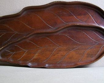 Vintage Wooden Leaf Tray