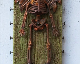 "Assemblage Art Found Object Shrine Skeleton Halloween ""On Target"""