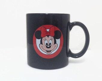 Vintage Minnie Mouse Mug - Disney - Black Ceramic Mug - Made in Japan - 1990s