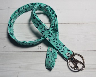 pandas skinny  Lanyard ID Badge Holder -  Lobster clasp and key ring New Thinner Design - turquoise pandas