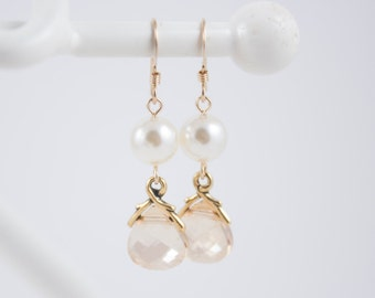 Bridesmaid Jewelry Crystal and Pearl Wedding Earrings Savannah Gold