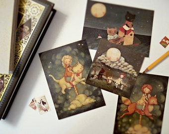 Postcard Set, Blank Card Set, Owl, Pussycat, Fox, Moon, Bear, Owl, Mouse, Hedgehog, Girl, Night, Nursery, Cute, Kids, Blue, Stars, Animals