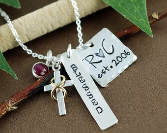 Personalized Anniversary Necklace, Hand Stamped Initial Necklace, Cross Necklace, Birthstone Necklace, Sterling Silver Necklace