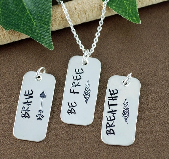 Inspirational Necklace, Hand Stamped Brave Neckalce, Silver Arrow Necklace, Brave Jewelry, Motivational Bar Jewelry, Dog Tag Necklace