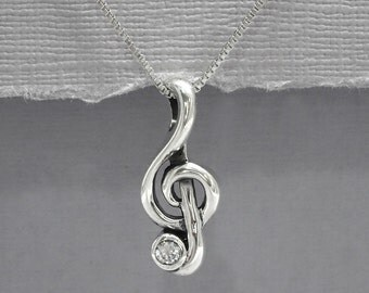 Sterling Silver Treble Clef Necklace, Gift for Her, Music Lover Necklace, Sterling Silver Treble Necklace, Girlfriend Gift, Gift for Her