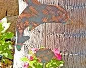 Dolphin Decor / Sculpture / Ornament / Metal / Copper / Plant Stake / Yard Art / Handmade / Gift / Porpoise / Ocean / Beach / Home Decor